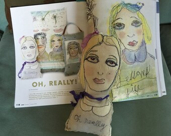 Oh Really Art Doll- Free Motion Embroidered Art Pillow created by Trish Vernazza of Visions of Venus