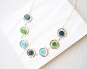 Modern Necklace - Porcelain Jewelry, Silver, Aqua Blue, Mod, Teal, Green, Ceramic, Contemporary, Colorful