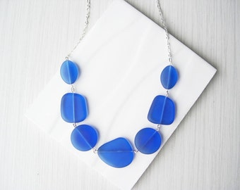 Royal Blue Recycled Glass Necklace, Seaglass Look, Eco Friendly Jewelry, Statement, Nickel Free Sterling Silver, Adjustable, Cobalt