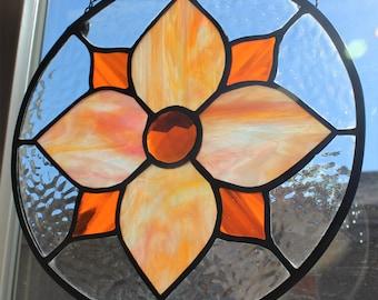 STAINED GLASS SUNCATCHER -Orange Pink Stained Glass, Round Stained Glass, Flower Suncatcher, Window Decoration, Under 40 Gift, Orange Decor