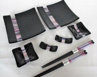 GLASS SUSHI SET for 2- Cherry Blossom Fused Glass Sushi Set with Chopsticks, Tableware, Under 75, Japanese Sushi Dishes, Wedding Gift, Glass