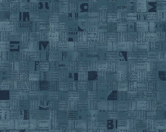 Blue Newsprint Fabric - Poster Block from Stof Fabrics - Full or Half Yard Navy Blue Newspaper Squares Collage