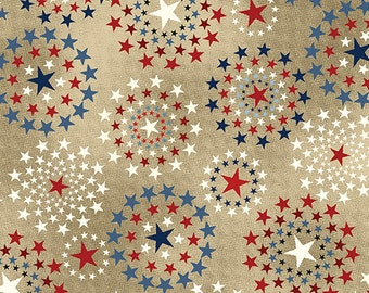 July 4th Stars - Oh My Stars from Benartex - Full or Half Yard Red, White, Blue on Tan Patriotic, American