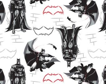 Batman fabric - Batman v Superman from Camelot Fabrics - Full or Half Yard Batman on White