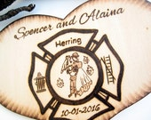 Firefighter Wedding Cake Topper, Bride and Groom, Firefighter Couple Silhouette, Custom Cake Topper, Wood Heart, Fifth Anniversary Gift