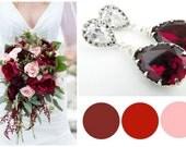 Winter Wedding Red Earrings, Marsala Wedding Earrings, Marsala Bridesmaid Jewelry, Cranberry Wedding Ideas, Red Crystal Earrings, Bridesmaid