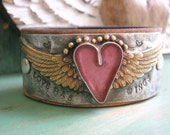 RESERVED for PAULA Winged heart leather cuff bracelet - Love Has Wings - Angel wings bohemian, romantic western country boho jewelry