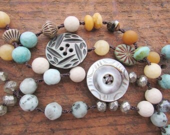 Summer layering necklaces - Buttoned Up! - Boho beach jewelry, chunky knotted necklaces, mixed gemstone necklaces, antique button, blue