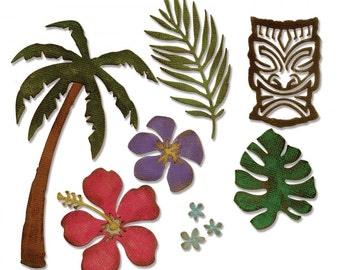 Tim Holtz Alterations Sizzix Thinlits 8 Die Set TROPICAL Tree, Flowers, Tiki
