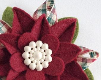 Retro Christmas Felt Flower Pin - Garnet Poinsettia with Vintage Cream Button and Gingham Christmas Ribbon