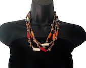 Layered Necklace,Pink Multi-Strand Square Beaded Necklaces,Multicolored beach jewelry,Hi fashion Jewelry by Taneesi