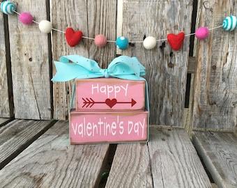 Happy Valentines Day wood block set arrow home decor gift seasonal photo prop