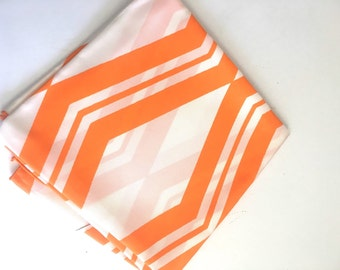 Orange & White Oversized Scarf Vintage 60's Mod Orange Sherbert Snow White Scarf Chevron Pattern Autumn Breeze
