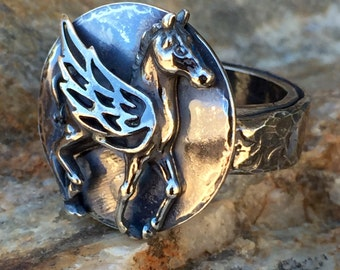 Sterling Horse with Wings Ring