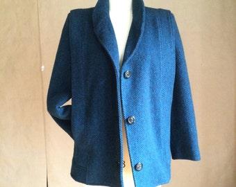 vintage 1980's  wool tweed jacket / coat / winter fall coat / vintage outerwear / black and blue tweed