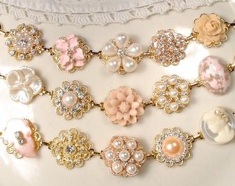 Gold Blush Pink Champagne Bridal Bridesmaid Bracelet Set 3 4 5 6 7 8, OOAK Ivory Pearl Rhinestone, Vintage Wedding Earring Bracelets Flower