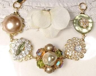 Olive Green Champagne Rhinestone Vintage Cluster Earring Bracelet, Bridesmaid Bracelet Bridesmaid Gifts, OOAK Mother of Bride Rustic Wedding