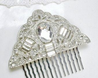 Antique 1920s Bridal Hair Comb Gatsby HeadPiece Art Deco Silver Rhinestone Dress Clip OOAK Edwardian Hair Accessory Vintage Wedding Haircomb