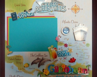 CRUISE ADVENTURE Pre-made Memory Album Page (Gallery Wood Frame Sold Separately)