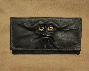 "Grichels leather ladies wallet - ""Brametel"" 26279 - black with silvery blue fish eyes"