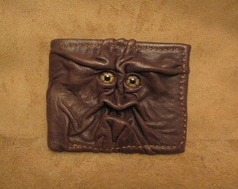 Grichels leather bi-fold wallet - chocolate brown with green star eyes