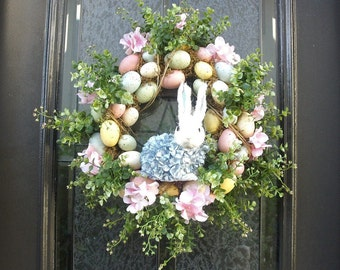 Blue Bunny Wreath, Easter Egg Wreath, Easter Door Wreath, Easter Decorations, Easter Wreath