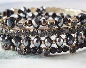 Elegant / Memory Wire Bracelet / Four Coils Bracelet / Black and Grey Beads