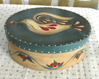 Vintage Hand Painted Bentwood Painted Bird Dove Pantry Box Folk Art