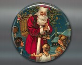 Victorian Christmas magnet, victorian santa decoration, christmas decoration, holiday decor, kitchen decor, large magnet, MA-1323