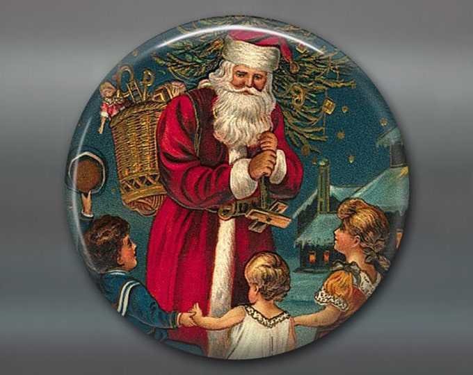 Victorian Christmas ornaments - Christmas decorations for the kitchen - Victorian Santa fridge magnet - MA-1323