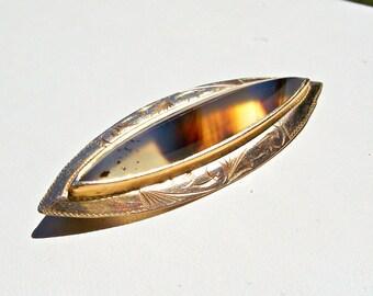 Art Deco Moss Agate Brooch 10k Gold Victorian Art Nouveau Antique Vintage