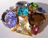 Vintage multicolored stones brooch pin chunky End of the Day
