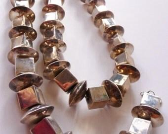 Vintage Southwestern artisan Navajo sterling silver necklace | hallmarked sterling | unsigned vintage