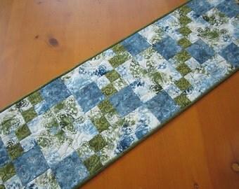 Quilted Table Runner, Handmade Table Runner, Blue Green Tablerunner, Table Quilt, Spring Table Runner, Home Decor, Table Linen, Patchwork