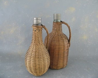 Vintage Wicker Wrapped Bottles, Demijohn, small, carboy
