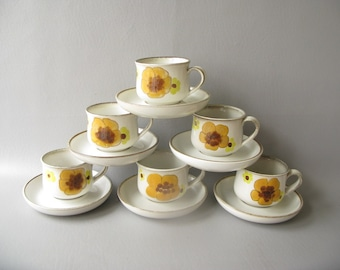 Vintage cups and saucers, teacups. Stoneware, Minstrel, Denby, 70s, floral, yellow