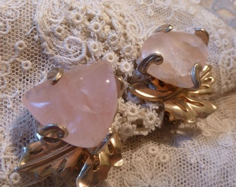 Vintage Pink Stone Prong Set Clip Earrings
