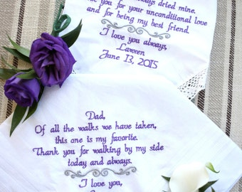 Wedding Gifts for Mother and Father // Embroidered Wedding Gifts, Embroidered Wedding Handkerchiefs // Wedding Gift, Gift for Mom Gift Dad