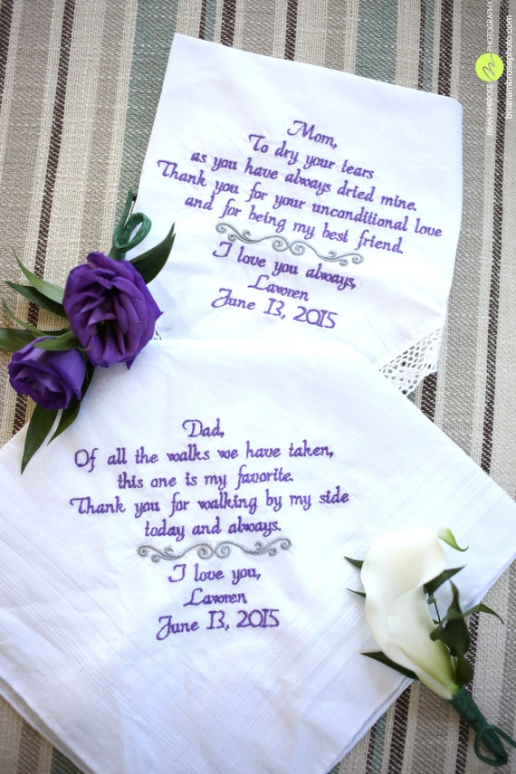 Wedding Gift For Mom And Dad : ... Wedding Handkerchiefs // Wedding Gift, Gift for Mom Gift Dad