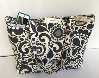 Large Tote - Beach/Travel/Diaper Blue and white