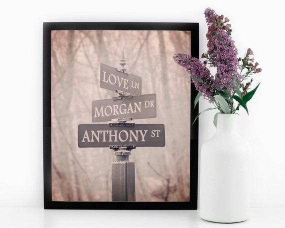 Street Sign Print Personalized Art Romantic Gift For