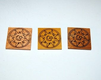 Laser Engraved Sun Moon Star Magnets on 3 Different Woods -Laser Engraved Magnet - Recycled or Upcycled Wood - Small Gifts - Free Shipping