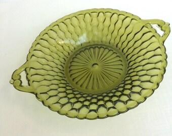 Handled Olive Green Glass Dish: Indiana Glass Honeycomb