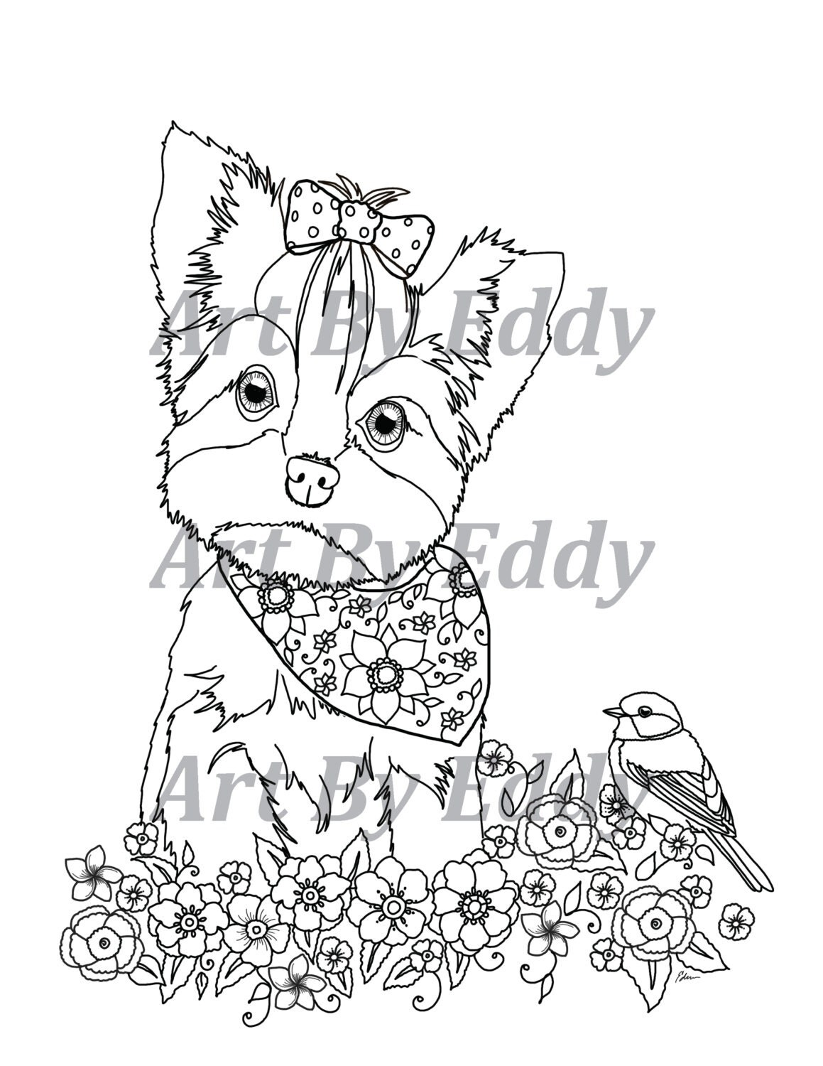 Art Of Yorkie Coloring Book Volume No 1 Physical Book