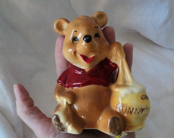 Vintage Winnie the Pooh and the Hunny Pot Ceramic Figurine. Walt Disney. Made in Japan