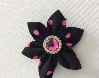 Black and Pink Polka Dot Dog Collar Flower- Ready to Ship