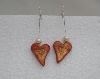 Red Heart polymer clay Valentine's Day earring with pearls