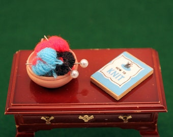 Miniature Knitting Book with Yarn Basket Scale Dollhouse Accessory