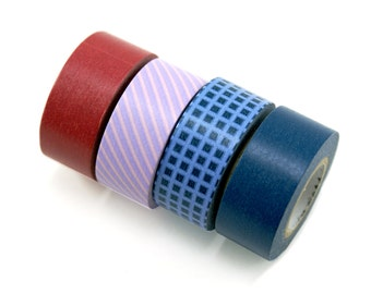 MASTE button down shirt washi masking tape set - set of 4 blue, burgundy, lilac purple - Japanese washi tape