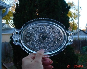 Antique Duncan Miller Oval Pressed Glass Tray - Beautiful
